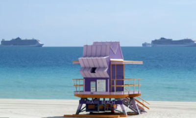 Miami Beach with cruises on the back